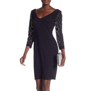 Marina Dress V-Neck 3/4 Sleeve Beaded
